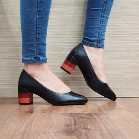 Pantofi cu toc Piele Naturala Epica Negri Sandra D02504 [0]