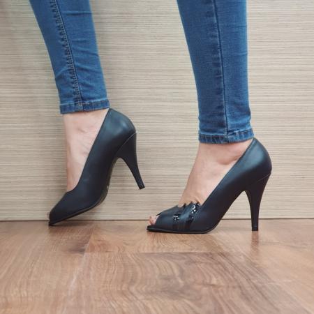 Pantofi cu toc Piele Naturala Guban Bleumarin Brunella D024871