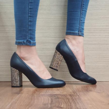 Pantofi cu toc Piele Naturala Guban Bleumarin Chloe D024810