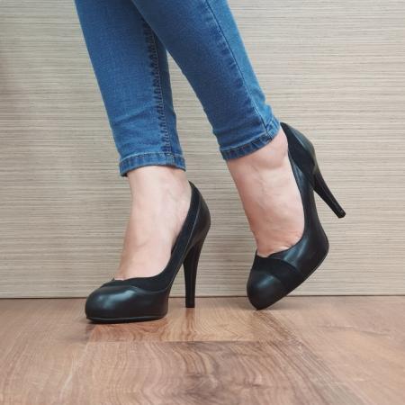 Pantofi cu toc Piele Naturala Guban Negri Arya D02489 [2]