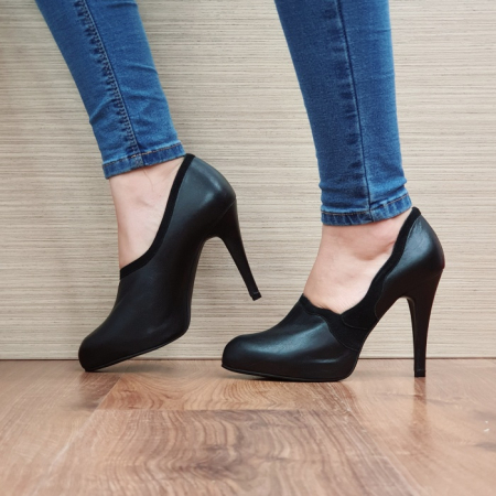 Pantofi cu toc Piele Naturala Guban Negri Corelia D025101