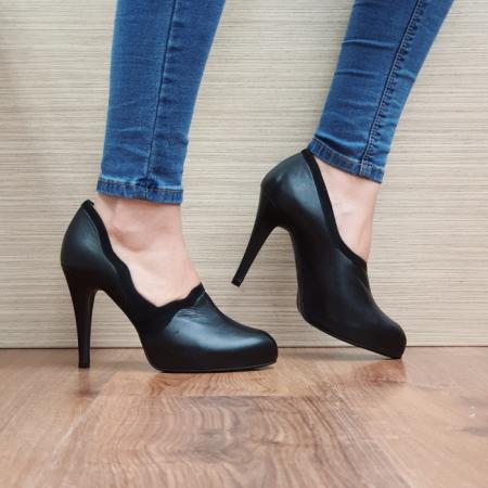 Pantofi cu toc Piele Naturala Guban Negri Corelia D025100