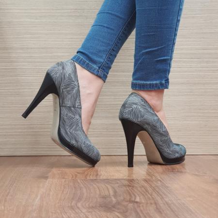 Pantofi cu toc Piele Naturala Guban Negri Hristina D024883