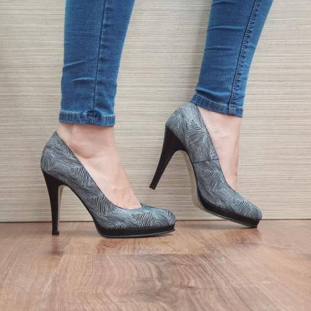 Pantofi cu toc Piele Naturala Guban Negri Hristina D024880