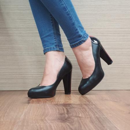 Pantofi cu toc Piele Naturala Guban Negri June D02496 [2]