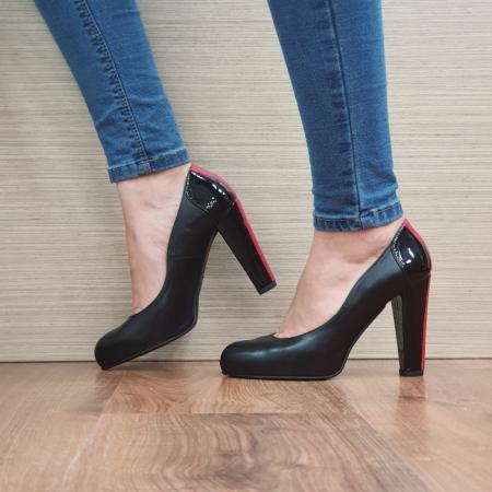 Pantofi cu toc Piele Naturala Guban Negri June D02496 [1]