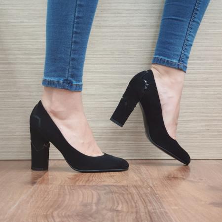 Pantofi cu toc Piele Naturala Guban Negri Marisol D024800