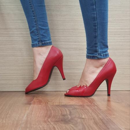 Pantofi cu toc Piele Naturala Rosii Guban Brunella D011481