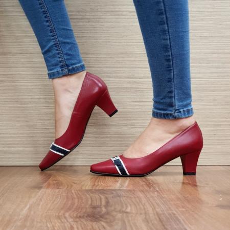 Pantofi cu toc Piele Naturala Guban Rosii Kellisa D025121