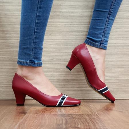 Pantofi cu toc Piele Naturala Guban Rosii Kellisa D025120