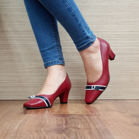 Pantofi cu toc Piele Naturala Guban Rosii Kellisa D025122