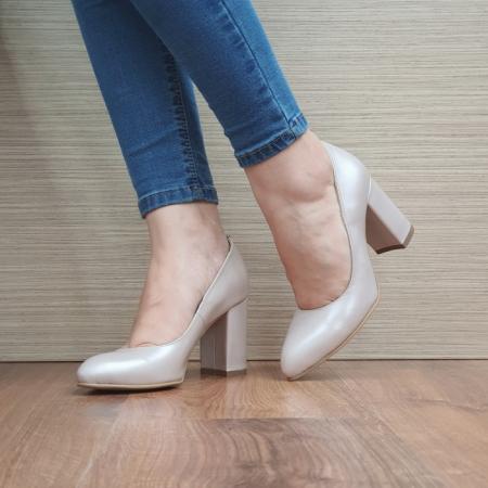 Pantofi cu toc Piele Naturala Moda Prosper Bej Prisca D024722