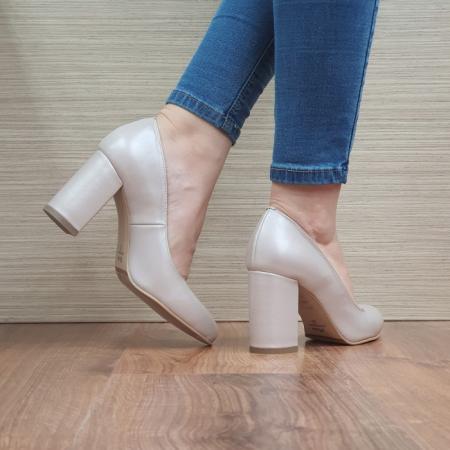Pantofi cu toc Piele Naturala Moda Prosper Bej Prisca D024723