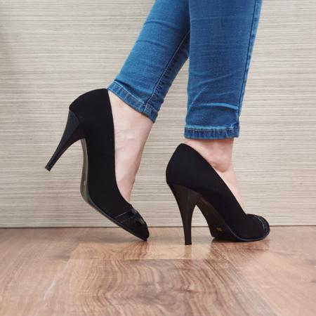 Pantofi cu toc Piele Naturala Moda Prosper Negri Correy D025013