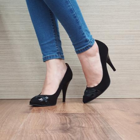 Pantofi cu toc Piele Naturala Moda Prosper Negri Correy D025012