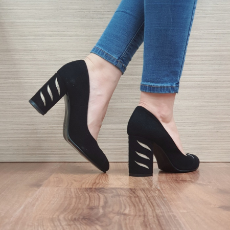 Pantofi cu toc Piele Naturala Moda Prosper Negri Olimpia D024743