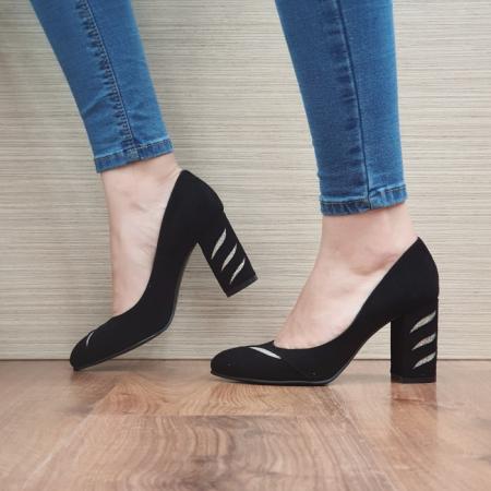 Pantofi cu toc Piele Naturala Moda Prosper Negri Olimpia D024741