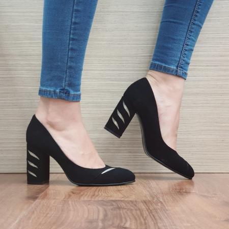 Pantofi cu toc Piele Naturala Moda Prosper Negri Olimpia D024740