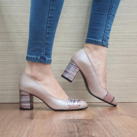 Pantofi cu toc Piele Naturala Moda Prosper Roz Hemilly D024730