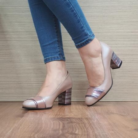 Pantofi cu toc Piele Naturala Moda Prosper Roz Hemilly D024732