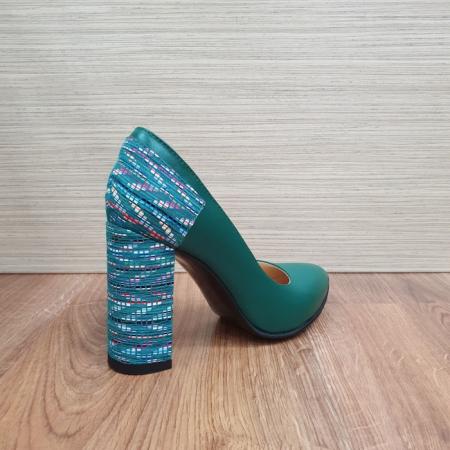 Pantofi cu toc Piele Naturala Moda Prosper Verzi Melisandre D024863
