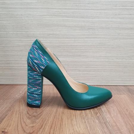 Pantofi cu toc Piele Naturala Moda Prosper Verzi Melisandre D024860