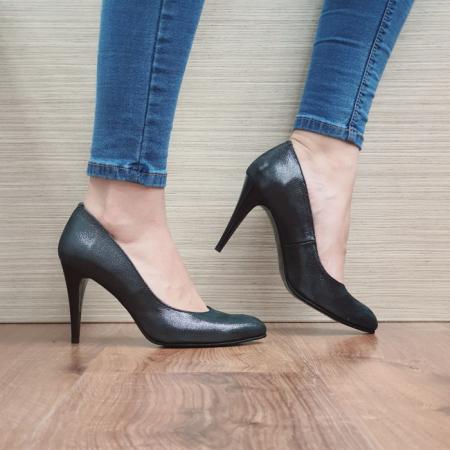Pantofi cu toc Piele Naturala Negri Alla D024840