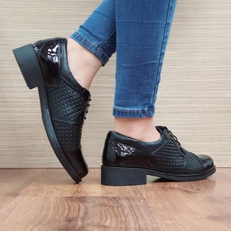 Pantofi Oxford Piele Naturala Negri Anita D025213
