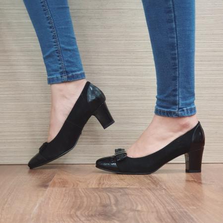 Pantofi cu toc Piele Naturala Negri Corina D024941