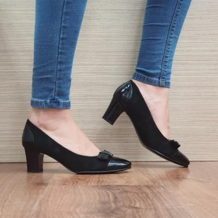 Pantofi cu toc Piele Naturala Negri Corina D024940