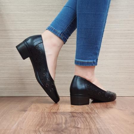Pantofi Dama Piele Naturala Negri Judy D024553