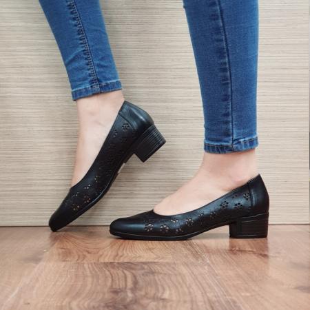 Pantofi Dama Piele Naturala Negri Judy D024551