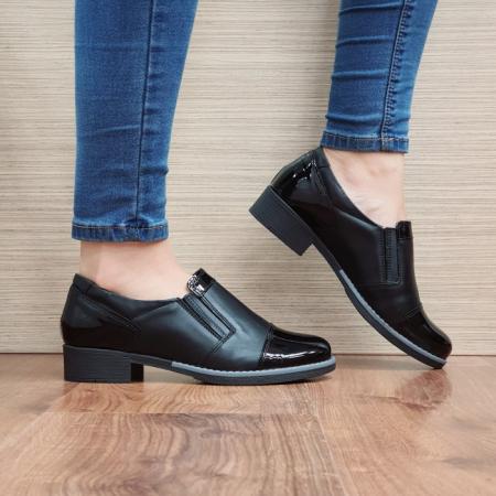 Pantofi Casual Piele Naturala Negri Lucille D025190