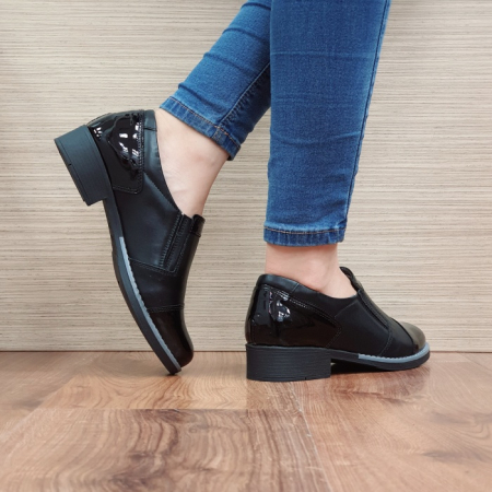 Pantofi Casual Piele Naturala Negri Lucille D025193