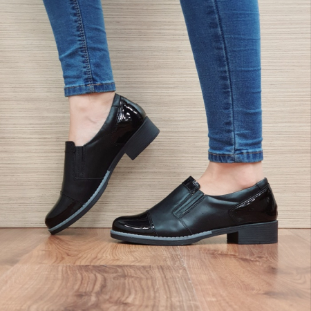 Pantofi Casual Piele Naturala Negri Lucille D025191