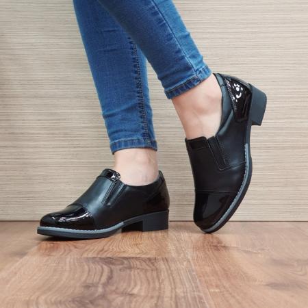 Pantofi Casual Piele Naturala Negri Lucille D025192