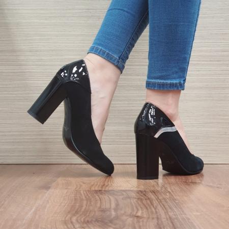 Pantofi cu toc Piele Naturala Negri Oana D024833