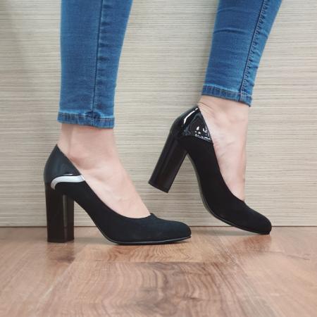 Pantofi cu toc Piele Naturala Negri Oana D024830