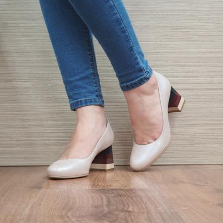 Pantofi cu toc Piele Naturala Nude Ioana D024932