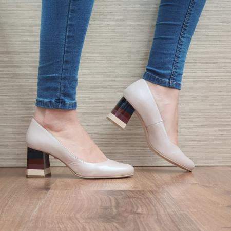 Pantofi cu toc Piele Naturala Nude Ioana D024930