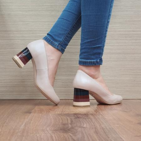 Pantofi cu toc Piele Naturala Nude Ioana D024933
