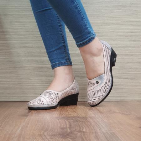 Pantofi cu toc Piele Naturala Nude Viara D02465 [2]