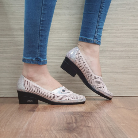 Pantofi cu toc Piele Naturala Nude Viara D02465 [0]