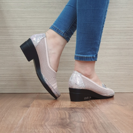 Pantofi cu toc Piele Naturala Nude Viara D02465 [3]