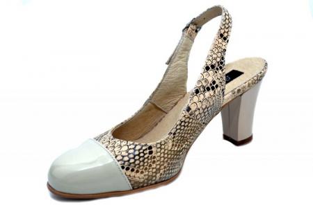 Pantofi Dama Piele Naturala Crem Aimee D013502