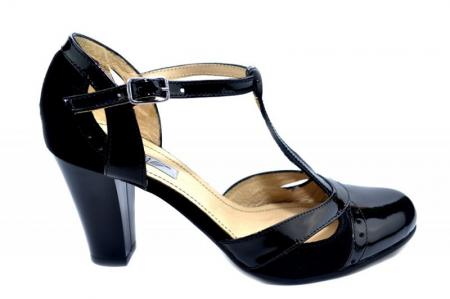 Pantofi Dama Piele Naturala Negri Rebecca D012900
