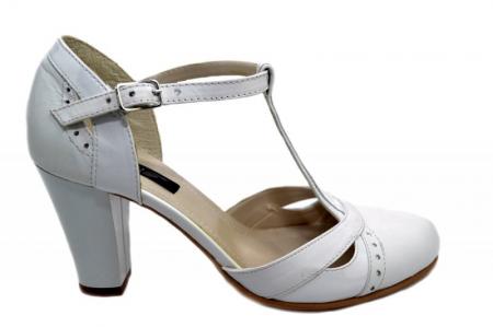 Pantofi Dama Piele Naturala Albi Rebecca D012910