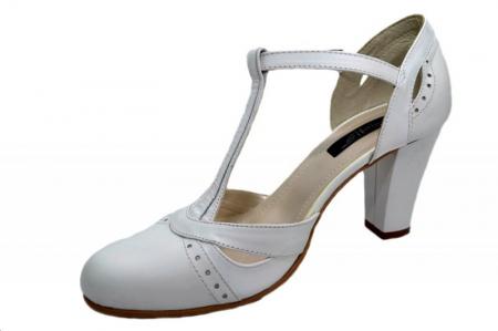 Pantofi Dama Piele Naturala Albi Rebecca D012912