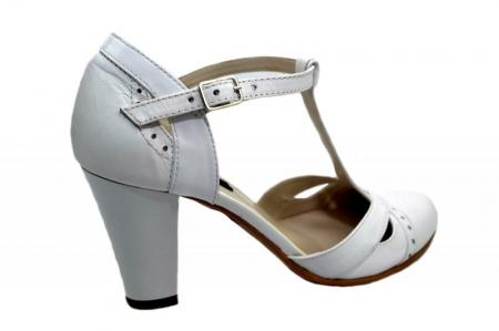 Pantofi Dama Piele Naturala Albi Rebecca D012913