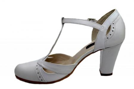 Pantofi Dama Piele Naturala Albi Rebecca D012911